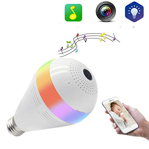 WQYRLJ E27 licht camera lamp Streamium Speake lamp wifi 360 ° fisheyge panorama 1,3 MP mini lamp camera wifi ontvangst Nanny veiligheid