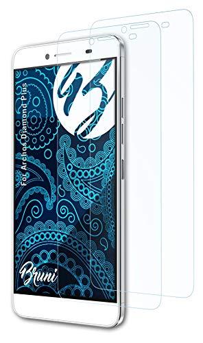 Bruni Schutzfolie kompatibel mit Archos Diamond Plus Folie, glasklare Bildschirmschutzfolie (2X)