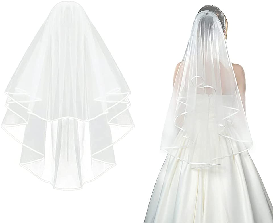 Bridal Veil Wedding Vails Women's Simple White Ivory Tulle Short Veils Ribbon Edge for Brides Shower Bachelorette Hen Party Chucky Costume Dress Up Gift Prom Girls First Communion (Ivory)