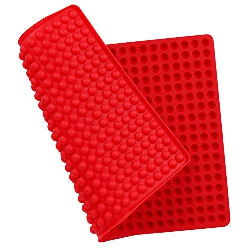 Zorara Backmatte Hundekekse, Mehrzweck Backform für Hundekekse, Silikon Backmatte für Hundeleckerli, 1cm Halbkugel Silikonmatte Backen Backunterlage Hitzebeständig Lebensmittelecht, Bpa-frei (Rot)
