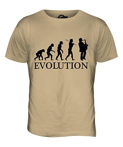 Candymix Saxophon Evolution des Menschen Herren T Shirt, Größe Small, Farbe Sand