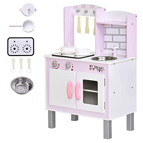 homcom Cucina Giocattolo per Bambini 3+ Anni con 5 Accessori Inclusi, Gioco con Suoni Realistici, Armadietto, 55x30x80cm, Rosa