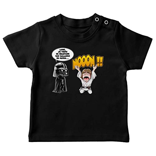T-Shirt bébé Noir Star Wars parodique Luke Skywalker et Dark Vador : Luke Life Episode I : Un père Qui craint : (Parodie Star Wars)