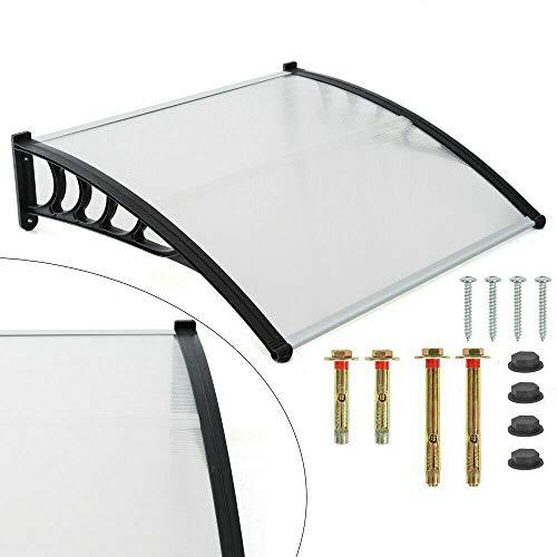 Marquesina para puerta de casa, tejado de policarbonato transparente de 5 mm de grosor, soporte ABS, techo de puerta para exterior, toldo, alero para arco de dos hojas, pinza negra (120 cm de ancho)