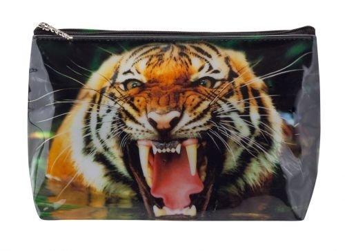 Kulturbeutel Tigapaw ®, sac de lavage, le tigre pour les enfants, les femmes, les hommes, orange, 18 cm de long, 14 cm de haut