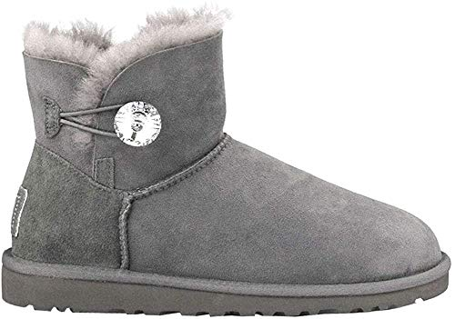 UGG Female Mini Bailey Button Bling Classic Boot, Grey, 6 (UK)