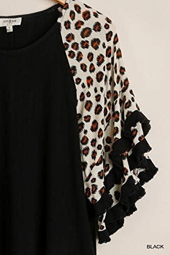 NWT Umgee XL Black//Animal Print Short Sleeve V-Neck Linen Dress Ruffle Hem