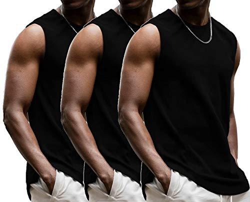LecGee Men's 3 Pack Gym Tank Tops Sleeveless Workout Muscle Tee Bodybuilding T Shirts