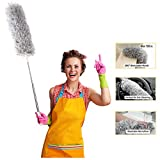 TransWonder Microfiber Duster with Extension Pole(100in.), 360 Degree Bendable Long Handle Duster for High Ceiling, Fan/Light, Cobwebs, Car, Computer/TV (Grey)