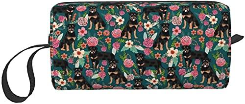 Sumptuous Rottweiler - Estuche de viaje con diseño floral para perros, bolsa de cosméticos de viaje, estuche portátil para cepillos de tocador, estuche multifunción con cremallera