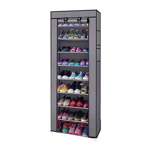 HQSB Zapatero alto con 10 niveles organizador de almacenamiento de zapatos modular con cubierta de tela no tejida para zapatillas, botas y zapatillas
