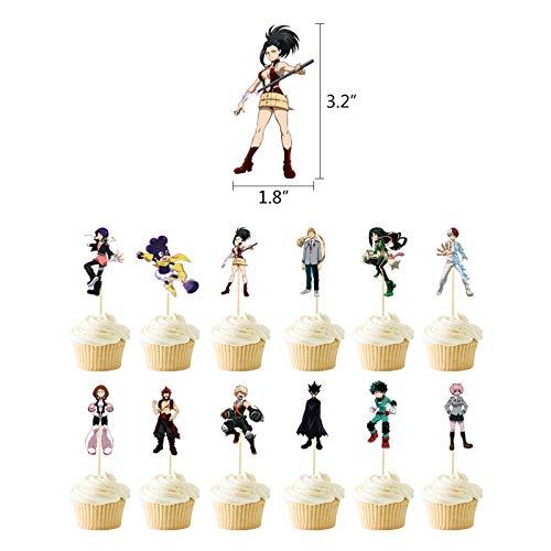 Anjinguang Lot de 12 décorations de gâteau My Hero Academia pour fête d'anniversaire