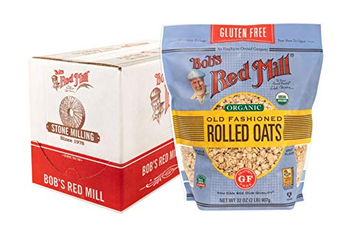 Bob's Red Mill Resealable Gluten Free Organic Old Fashioned Rolled Oats, rolled oats, Beige, 128 Oz (Pack of 4)