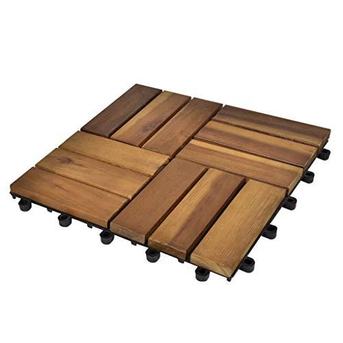Tidyard Lot de 10 Pcs Tuile de Plancher en Acacia 30 x 30 cm