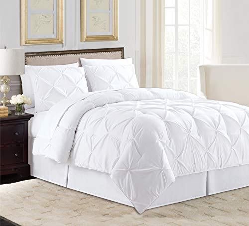 All American Collection 8 PC Soft Comfy Plush Pintuck Microfiber Comforter Set for Living Room Hotel Loft with Bedskirt Flat & Fitted Sheets Pillow Cases & Shams (King, White)