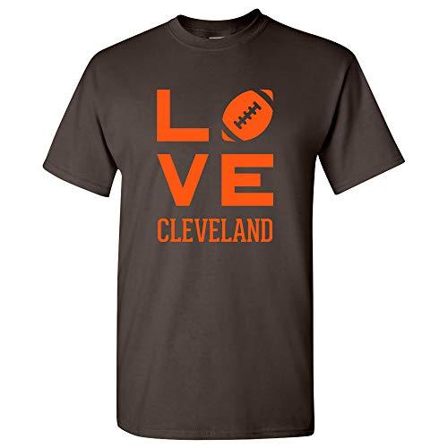Cleveland Love Football - Sports Team City Pride Tailgating T Shirt - Large - Dark Chocolate