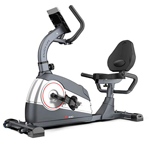 OUYA Magnetic Recumbent Exercise Bike With LCD Display, Pulse Sensors, Adjustable Seat and Video Events & Multiplayer APP & integrated power generator Cardio Trainer,A