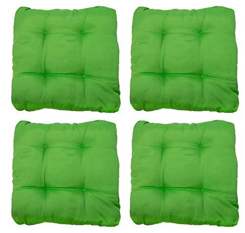ZOLLNER 4er Set Stuhlkissen mit Bänder, 38x38x6 cm, grün (weitere verfügbar)