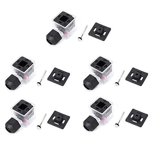 5Pcs Elektrischer Stecker Wasserdicht Staubdicht mit LED-Kontrollleuchte, Nicht Kabelgebunden für DC-Magnetventil Transparent(12V)