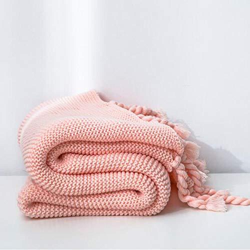 FUFU Mantas y mantitas Manta de Tiro de Punto 100% algodón para sofá y sofá Cable liviano de Punto Manta de lecho de Punto Manta Decorativa en el hogar en 9 Colores para Todas Las Estaciones