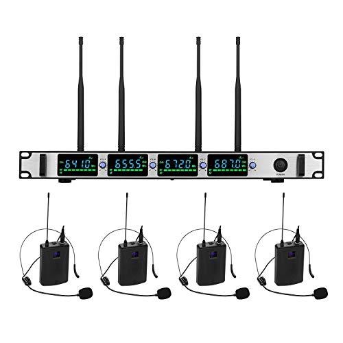 Professionele draadloze microfoon, 4 kanalen, UHF, draadloos, microfoonset, bestaande uit 4 hoofdtelefoons, zakzender en 1 rek, ontvanger voor confluctie, school, algemene accessoires