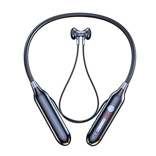 AQUYY Auriculares Inalámbricos Bluetooth, Cascos Deportivos Magnéticos en la Oreja con Pantalla de Nivel de Batería, Tarjeta TF de Soporte, Auriculares Estéreo Wireless, 100H de Reproducción