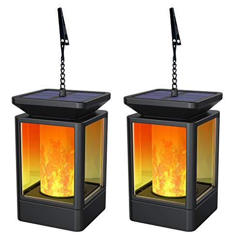 Forand Linterna solar Luces de jardín Linternas al aire libre Llamas Lámpara 3 Moda con llamas parpadeantes para decoración Jardín