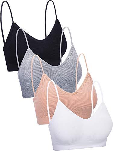4 Piezas de Sujetador de Camisola de Cuello V Bandeau Bralette sin Costura Sujetador de Dormir con Tirantes para Mujers Chicas (Conjunto de Colores 1, Talla S-M)