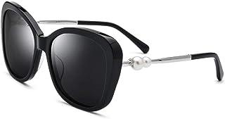 Fashion Female Glasses Driving Mirror UV400 Brown Black Cat Eye Plate Sunglasses Ladies Polarized Double Pearl Sunglasses Retro (Color : Black)