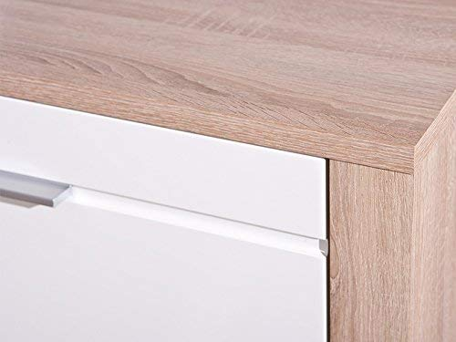 Links 19500370 Anrichte Kommode Diele Wohnzimmer 4-türig Schublade Sonoma Eiche weiß hochglanz - 4