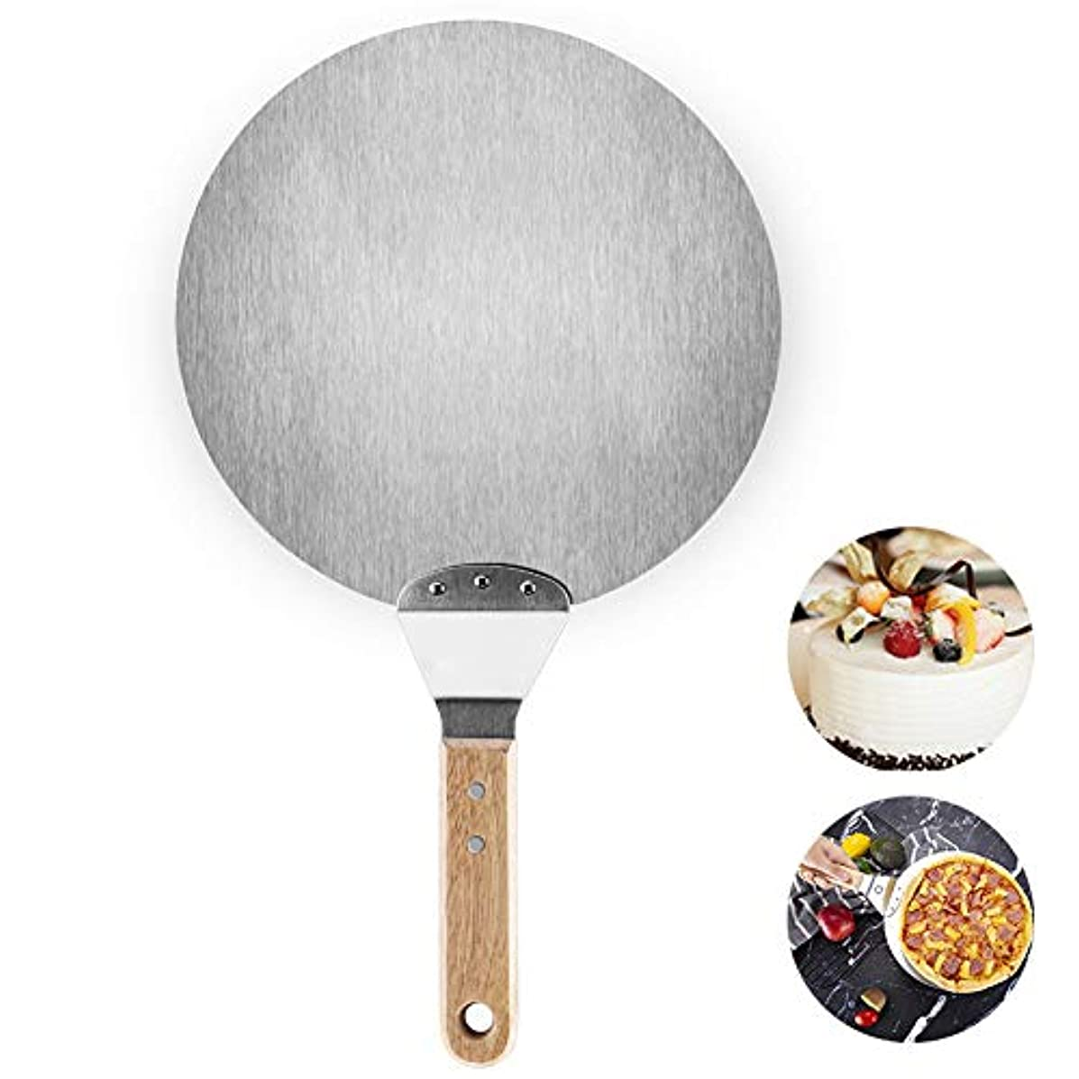 Stainless Steel Pizza Spatula,10 Inch Round Metal Pizza Peel Paddle Shovel Turner Cake Lifter Plate with Wood Handle for Homemade Pizza, Bread, Cake, Baking Tools Accessories