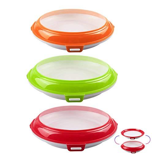 Ousyaah Bandeja de Conservación de Click & Fresh, Fiambrera, Bandeja de ConservacióN de Alimentos PláStico, Sello de VacíO, Reutilizable, Compacto y Apilable, Sin BPA (3 Pack)