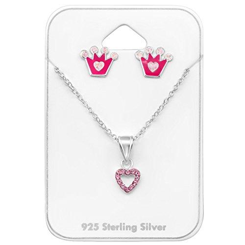 Luna Jule prinses sieradenset roze voor meisjes (kinder), bestaande uit een ketting met harthanger bezet met 12 stenen & oorstekers in prinses kroonvorm, sterling zilver