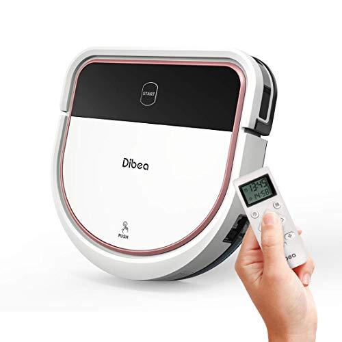 Dibea Saugroboter mit Wischfuntion Staubsauger Roboter Saugen Wischen Gleichzeitig 3 Saugstufen 110 Minuten 7.5 cm Flach Hartböden Automatische Aufladung D500 Pro Weiß