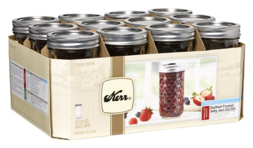 Quilted Crystal Jelly Jars with Lids and Bands, 12-Ounce