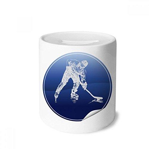 DIYthinker Wintersport Skaten und Eishockey Aquarell-Geld-Kasten Sparkassen Keramik Münzfach 3.5 Zoll in Height, 3.1 Zoll in Duruchmesser Mehrfarbig