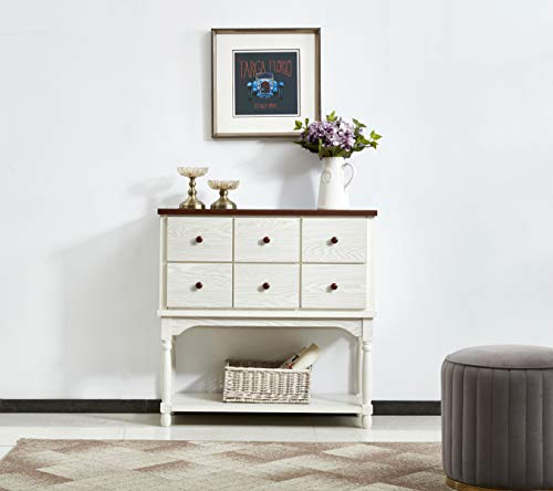 Mixcept Solid Wood Sideboard Buffet Server Cabinet Kitchen Dining Room Cupboard Console Table with 6 Drawers,Walnut +White Wash Dining Room Set Sideboard