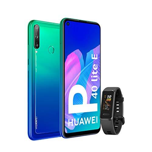 HUAWEI P40 Lite E - Smartphone con Pantalla FullView de 6,39' (Kirin 710, 4 GB + 64GB, Triple Cámara IA de 48MP, Batería de 4000 mAh), Color Verde + Band 4 Negra, Azul