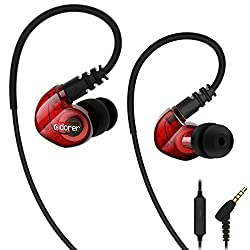 Sport headphones, Adorer RX6 headphones in ear with microphone IPX4 water protection for sports and workout - Red