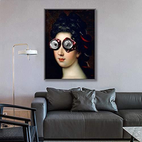 N/A Cartel Impresión Arte De Pintura De La Lona Orejas De Conejo Divertidas Pueden Gafas Mujeres Abstracto Alienígena Casco Arte Cartel Ación Decoración Arte Pared Moderno, Sin Marco 50CM X70CM