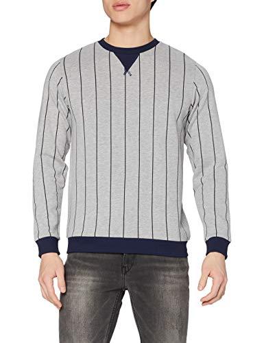 Marca Amazon - find. Vertical Stripe Ai7 - sudadera Hombre, Gris (G-marl), L, Label: L