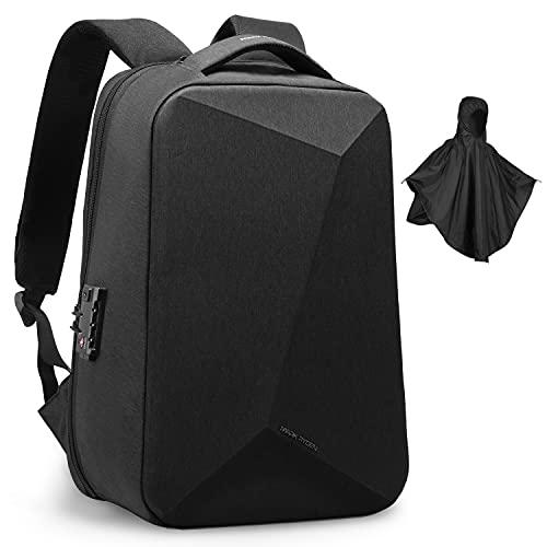 MARK RYDEN Anti-Diebstahl-Rucksack mit USB-Anschluss TSA Lock Rucksack mit USB-Anschluss mit Regenmantel Laptop-Rucksack 15,6 Zoll für die Reisen, Schule, Geschäft (Black-Diamond-Form)