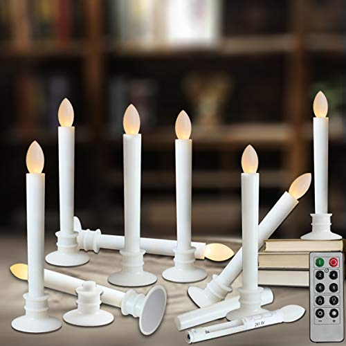 Window Candles with Remote Timers Battery Operated Flickering Flameless Led Electric Candle Lights with Removable Tapers Pillar Candle Holders for Christmas Decorations 10pcs White Base