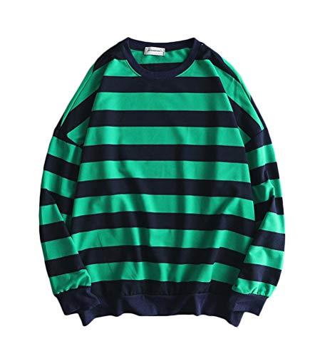 Minetom Herren Pullover Sweatshirt Oversized Sweat Crewneck Gestreiftes Shirt Longsleeve Marine Langarmshirts Pulli A Grün Schwarz XL