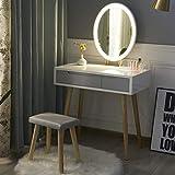 YOURLITE Tocador con Espejo de Luces LED – Juego de Mesa de Maquillaje con Espejo de Brillo Ajustable, Taburete Acolchado y Organizador de Maquillaje Gratis (Blanco+Gris+Espejo Ovalado)
