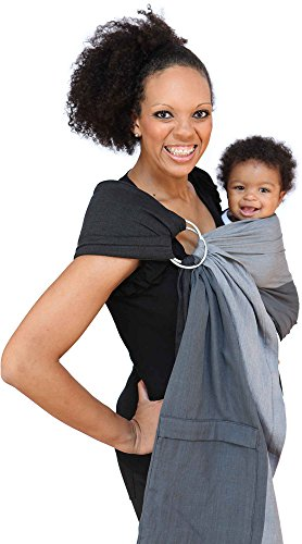 Maya Wrap Lightly Padded Ring Sling | Ergonomic Baby Carrier | Integrated Pocket | Lightweight, Breathable Cotton | Bright Stripe (Medium)