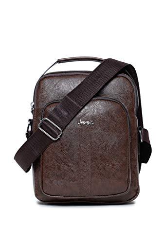 KOMTO Sing Bag Messenger Bag PU Cuero Bolsos de hombro Bolsa de viaje Crossbody Bolsas para hombres y mujeres trabajo negocios, marrón (Marrón), Medium
