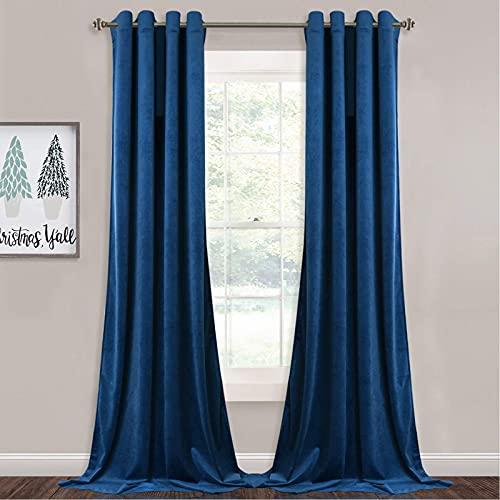 StangH Bedroom Blue Curtains Velvet - 108 inches Extra Long Light Blocking Plush Velvet Curtains for Living Room, Royal Blue, 52 x 108 inches, 2 Panels