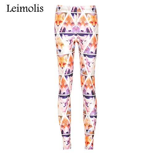 LEIMOLIS Yoga Hosen Leggings Printed 3D Fitness Push Up Workout Leggings Damen Lovely Fox Plus Size Hohe Taille Punk Rock Hose, Orange, L