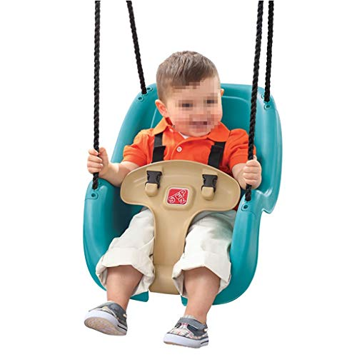jiande El Primer Columpio del niño, el balancín al Aire Libre y Interior, con diseño de Concha de Espuma ergonómica, arnés de Seguridad de 3 Puntos, Edades de 9 Meses y hasta Azul.